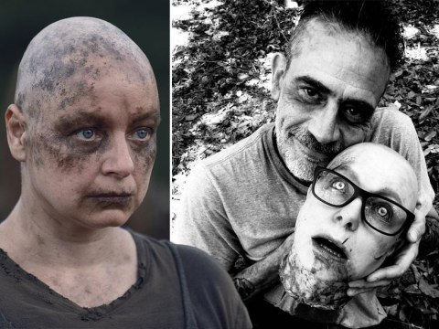 The Walking Dead's Jeffrey Dean Morgan poses with Alpha's decapitated head in gruesome BTS picture
