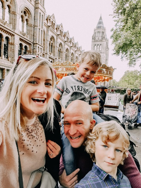 Lara Joanna Jarvis, 36, with husband Stuart, 39, and their two small children aged six and four