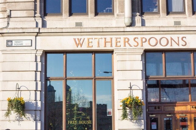 Wetherspoons in Trinity Square on Tower Hill.
