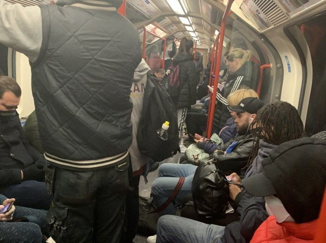 Tube carriages were still packed on Wednesday morning
