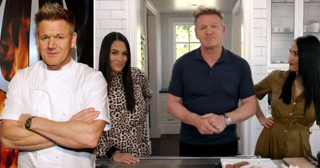 Gordon Ramsay with Nikki and Brie Bella on his YouTube series Scambled