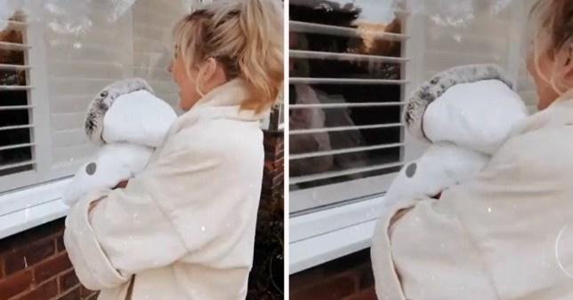 Lydia Bright brings newborn to see nan through the window
