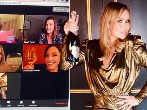 Amanda Holden gets glammed up for online girls' night in with celeb pals amid coronavirus lockdown