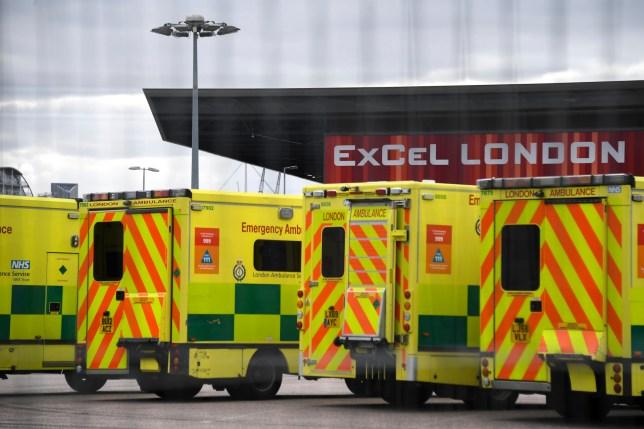 Ambulances parked outside Nightingale Hospital London