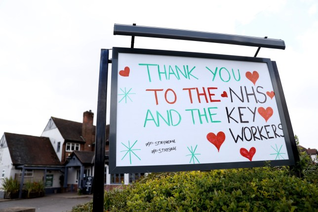 A sign outside a public house in Nottingham thanking the NHS and Keyworkers as the UK continues in lockdown to help curb the spread of the coronavirus. PA Photo. Picture date: Sunday March 29, 2020. See PA story HEALTH Coronavirus. Photo credit should read: Tim Goode/PA Wire