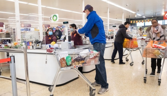 Shopper in Sainsbury's during the coronavirus outbreak