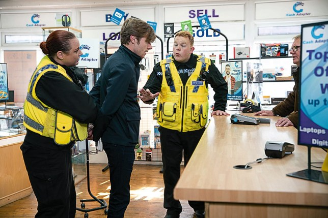 FROM ITV STRICT EMBARGO - No Use Before Tuesday 12th November 2019 Coronation Street - Ep 9931 Wednesday 20th November 2019 - 2nd Ep The police arrive at the pawn shop and arrest Daniel Osbourne [ROB MALLARD] - can Craig Tinker [COLSON SMITH] and Peter persuade the shop owner to drop the charges by explaining the circumstances? Picture contact - David.crook@itv.com Photographer - Danielle Baguley This photograph is (C) ITV Plc and can only be reproduced for editorial purposes directly in connection with the programme or event mentioned above, or ITV plc. Once made available by ITV plc Picture Desk, this photograph can be reproduced once only up until the transmission [TX] date and no reproduction fee will be charged. Any subsequent usage may incur a fee. This photograph must not be manipulated [excluding basic cropping] in a manner which alters the visual appearance of the person photographed deemed detrimental or inappropriate by ITV plc Picture Desk. This photograph must not be syndicated to any ot