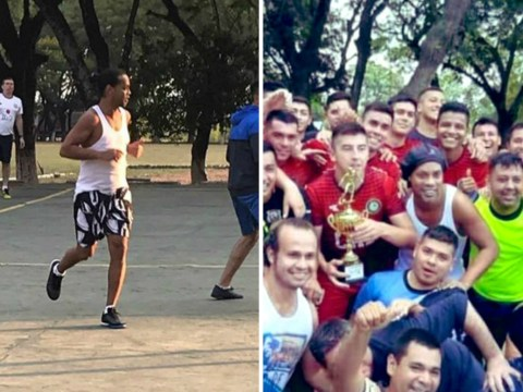 Ronaldinho wipes the floor with inmates in Paraguayan prison football match