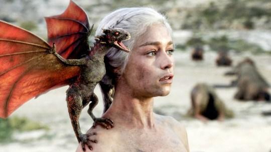 Emilia Clarke as Daenerys Targaryen with Drogon on Game of Thrones