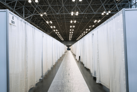 Photo of beds at the Javits Center temporary hospital