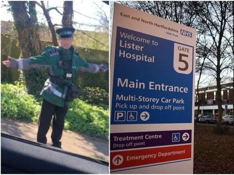 Traffic warden putting tickets on cars outside hospital confronted by driver