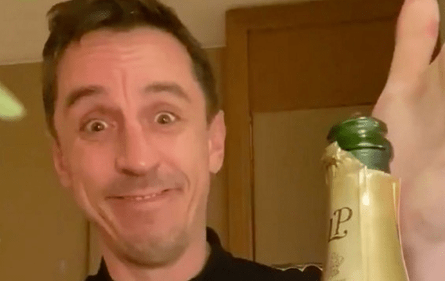 Gary Neville celebrated Liverpool's defeat at Watford by opening a bottle of champagne
