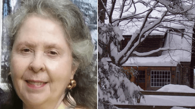 Photo of Linda Scharrenberg next to photo of her cabin