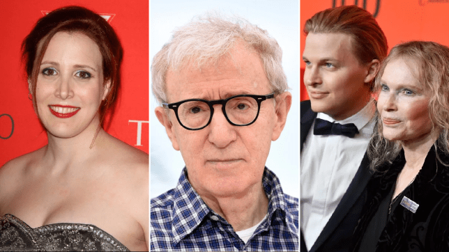 Dylan Farrow, Woody Allen, Ronan Farrow and Mia Farrow