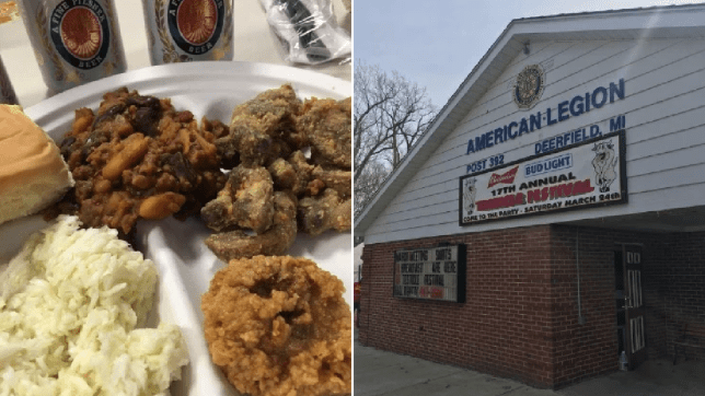 Photo of deep fried testicles next to photo of Deerfield American Legion
