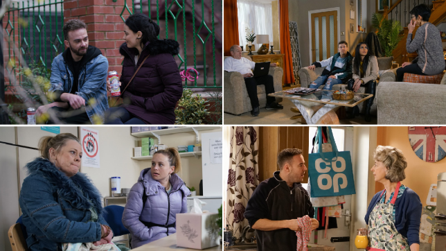 David, Alina, Geoff, Ryan, Alya, Yasmeen, Bernie, Gemma, Tyrone and Evelyn in Coronation Street