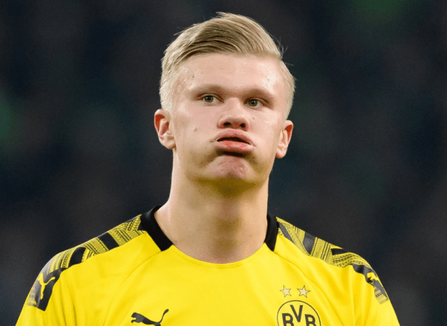 Erling Haaland during Borussia Dortmund's Champions League defeat to PSG