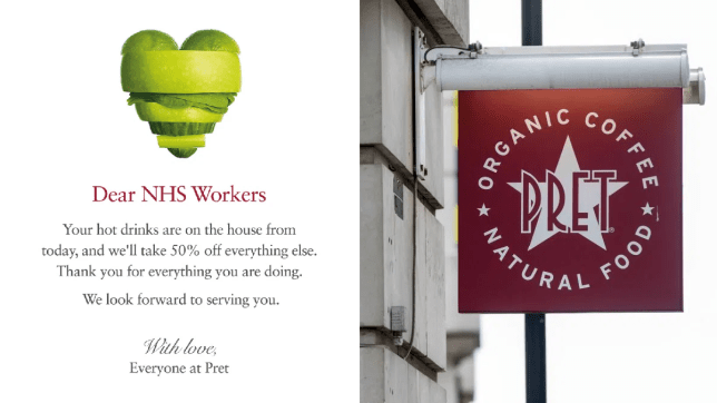 Pret gives free hot drinks and 50% off all food for NHS workers to thank them during coronavirus pandemic