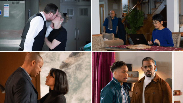 Mick and Linda in EastEnders, Yasmeen and Geoff in Coronation Street, Priya and Al in Emmerdale, and Felix and Mitchell in Hollyoaks