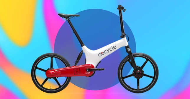 The GoCycle electronic bike offered to NHS workers during the coronavirus crisis, on a colourful background.