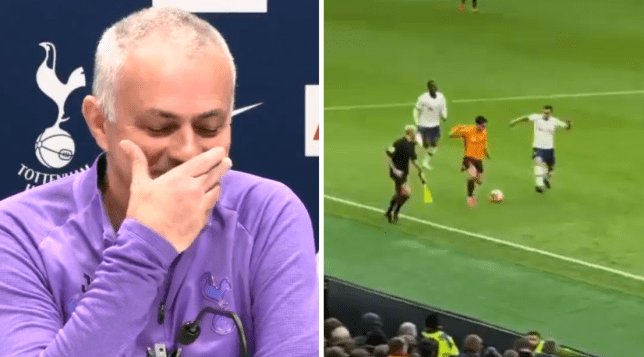 Tottenham boss Jose Mourinho started giggling when he was asked about the video of Tanguy Ndombele