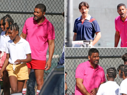 Will Smith spotted on-set with young Venus and Serena Williams as biopic filming continues