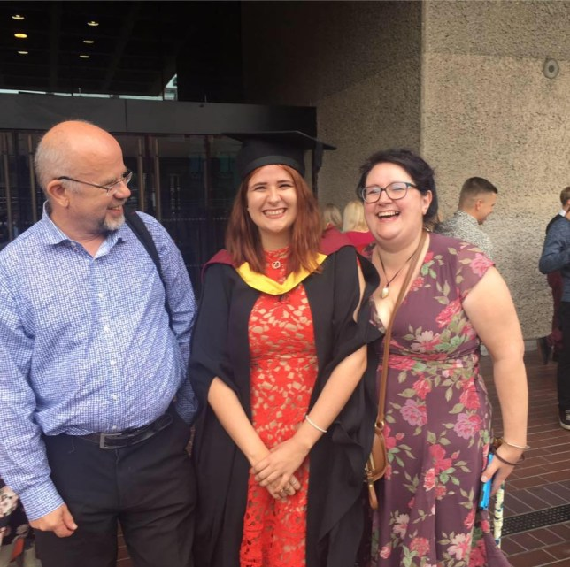 Me, mum and dad at my university graduation in 2017.