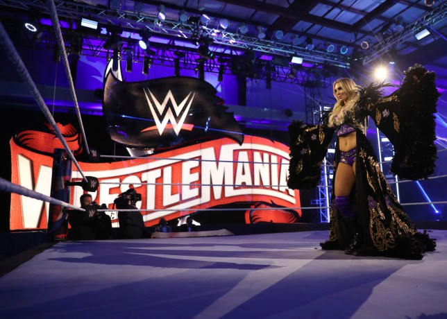 Charlotte Flair at the WWE Performance Center in Orlando for her WrestleMania 36 match against Rhea Ripley