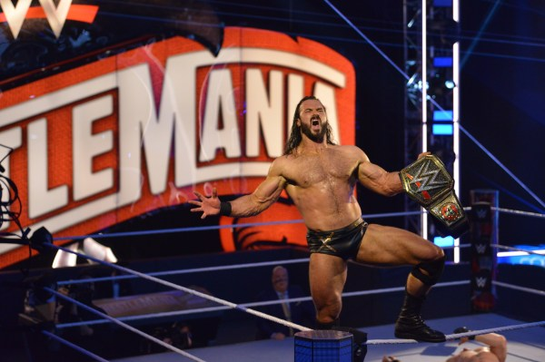Drew McIntyre beats Brock Lesnar for the WWE Championship at WrestleMania 36
