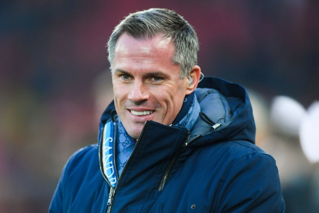 LIVERPOOL, ENGLAND - JANUARY 19: Sky Sports pundit Jamie Carragher looks on during the Premier League match between Liverpool FC and Manchester United at Anfield on January 19, 2020 in Liverpool, United Kingdom. (Photo by Michael Regan/Getty Images)