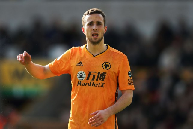 WOLVERHAMPTON, ENGLAND - FEBRUARY 23:  Diogo Jota of Wolverhampton Wanderers during the Premier League match between Wolverhampton Wanderers and Norwich City at Molineux on February 23, 2020 in Wolverhampton, United Kingdom. (Photo by Matthew Ashton - AMA/Getty Images)