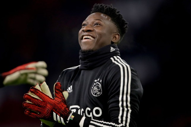 Andre Onana warms up for Ajax before a game
