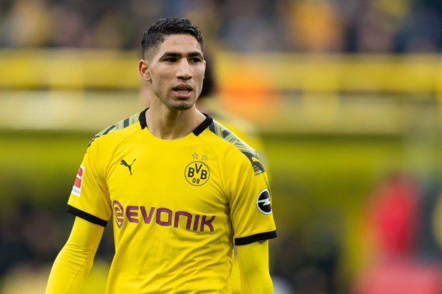 Chelsea transfer target Achraf Hakimi during Borussia Dortmund's Bundesliga clash with Freiburg