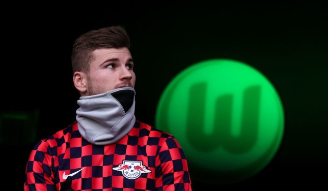 Leipzig's German forward Timo Werner arrives for the German first division Bundesliga football match between VfL Wolfsburg and RB Leipzig in Wolfsburg, northern Germany, on March 7, 2020. (Photo by Ronny Hartmann / AFP) / DFL REGULATIONS PROHIBIT ANY USE OF PHOTOGRAPHS AS IMAGE SEQUENCES AND/OR QUASI-VIDEO (Photo by RONNY HARTMANN/AFP via Getty Images)