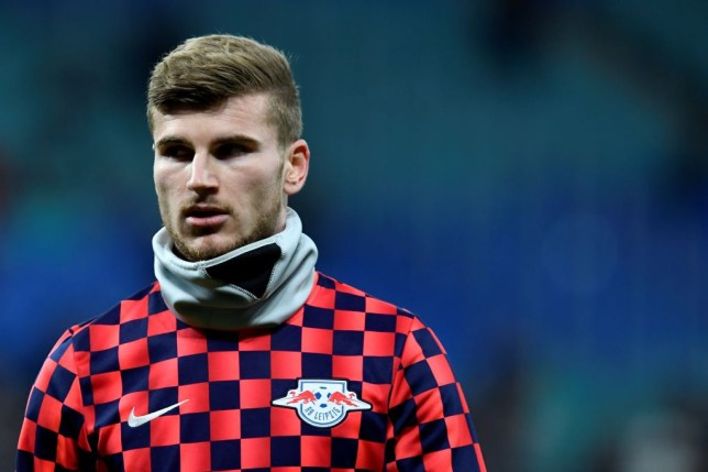 Leipzig's German forward Timo Werner looks on during the warm-up before the ball during the UEFA Champions League football match between Leipzig and Tottenham, in Leipzig, eastern Germany on March 10, 2020. (Photo by John MACDOUGALL / AFP) (Photo by JOHN MACDOUGALL/AFP via Getty Images)
