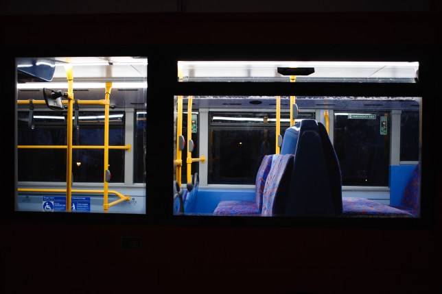 The inside of an empty London bus