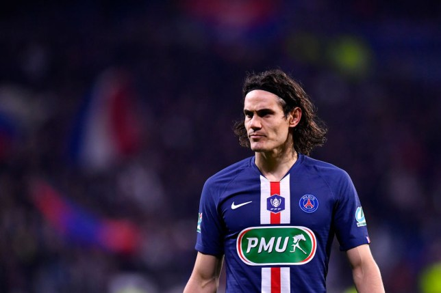 LYON, FRANCE - MARCH 04: Edinson Cavani of Paris Saint-Germain looks on during the French Cup Semi Final match between Olympique Lyon and Paris Saint-Germain at Groupama Stadium on March 04, 2020 in Lyon, France. (Photo by Aurelien Meunier - PSG/PSG via Getty Images)