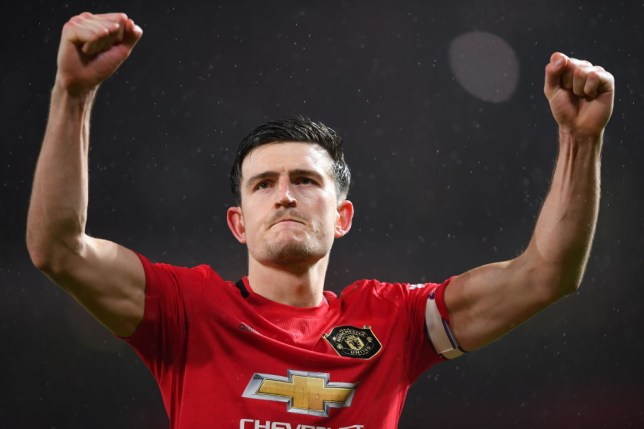 MANCHESTER, ENGLAND - MARCH 08: Harry Maguire of Manchester United celebrates after the Premier League match between Manchester United and Manchester City at Old Trafford on March 08, 2020 in Manchester, United Kingdom. (Photo by Laurence Griffiths/Getty Images)