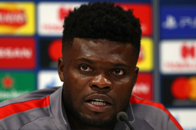 LIVERPOOL, ENGLAND - MARCH 10: Thomas Partey of Atletico Madrid speaks to the media during an Athletico Madrid Press Conference at Anfield on March 10, 2020 in Liverpool, United Kingdom. Atletico Madrid will face Liverpool FC in their UEFA Champions League round of 16 second leg match on March 11, 2020. (Photo by Jan Kruger/Getty Images)