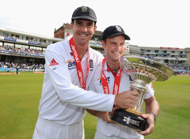 Former England captain Andrew Strauss with Kevin Pietersen