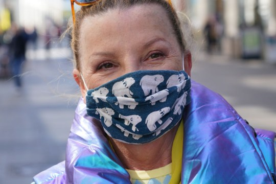 woman in Berlin wearing homemade face mask