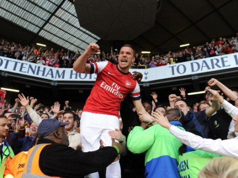 Lukas Podolski explains his iconic reaction to Arsenal beating Tottenham at White Hart Lane