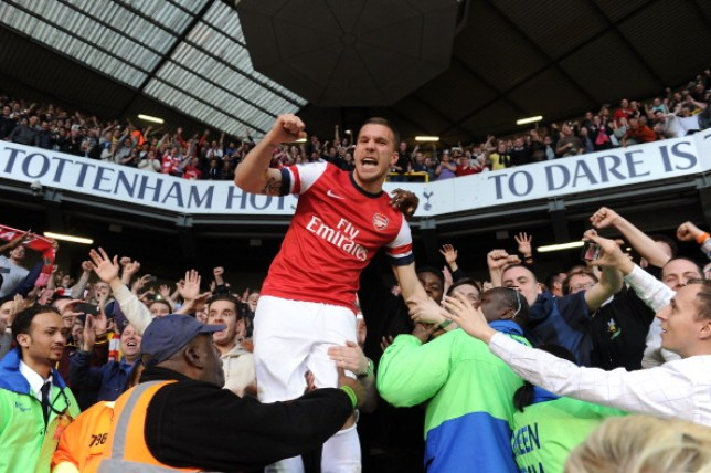 Lukas Podolski jumped into the crowd to celebrate Arsenal win over Tottenham back in 2014