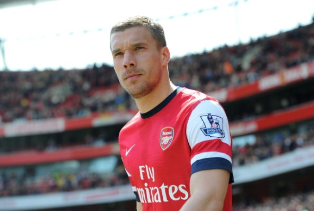 LONDON, ENGLAND - MAY 04:  Lukas Podolski of Arsenal looks on before the match between Arsenal and West Bromwich Albion in the Brclays Premier League at Emirates Stadium on May 4, 2014 in London, England.  (Photo by David Price/Arsenal FC via Getty Images)