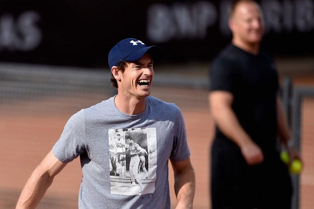 ROME, ITALY - MAY 09:  Andy Murray of Great Britain laughs during a training session on Day Two of The Internazionali BNL d'Italia 2016 on May 09, 2016 in Rome, Italy.  (Photo by Dennis Grombkowski/Getty Images)