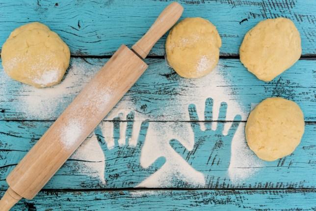 baking dough and handprints
