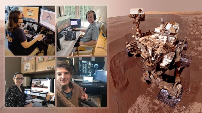 Members of Nasa's Curiosity Mars rover mission team photographed themselves on March 20, 2020, the first day the entire mission team worked remotely from home. (NASA/JPL-Caltech)