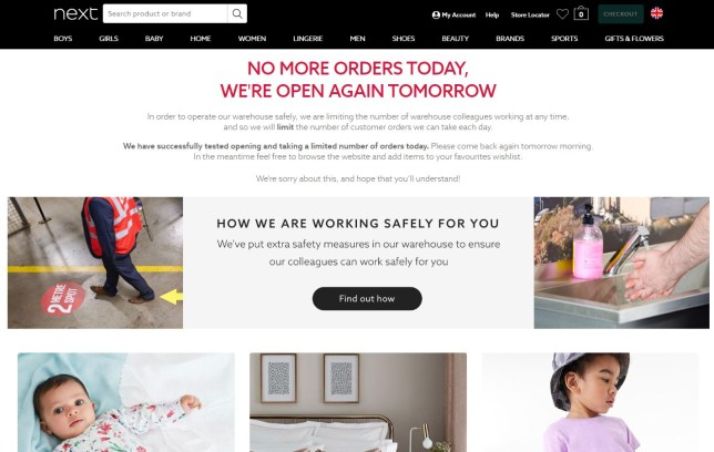 Next website closes soon after opening again