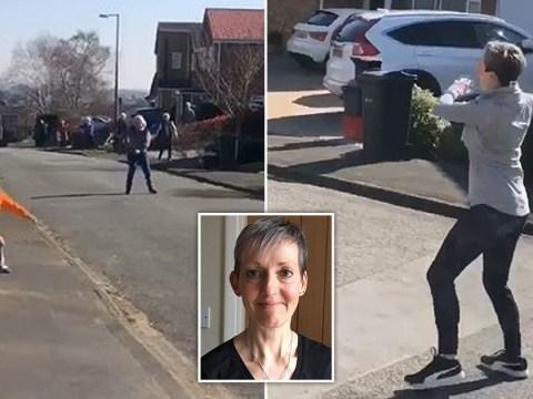 This street enjoys a socially distant dance every morning led by an exercise teacher