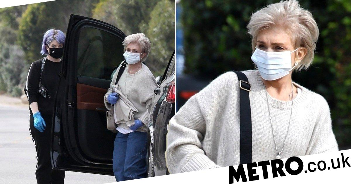 Sharon and Kelly Osbourne mask and glove up against coronavirus as they head out
